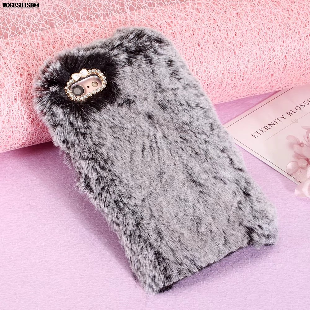 Fur Furry Case for iPhone 7 Rabbit Bunny Cases for iPhone X 4 4S SE 5 5S 6 6S 7 8 Plus Artificial Cony Long Hair TPU Cover