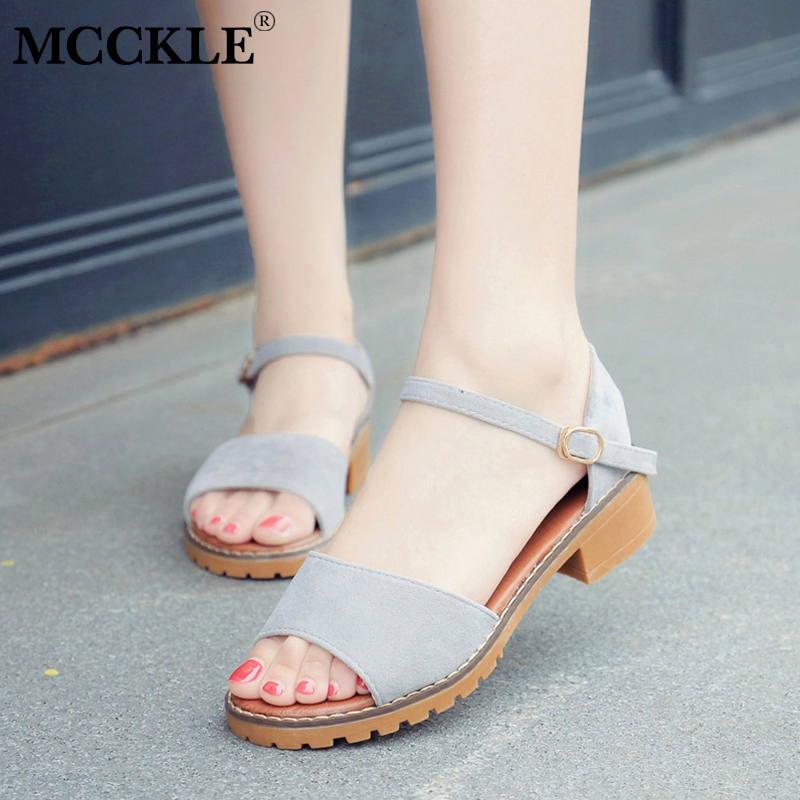 MCCKLE Women Summer Sandals Flock Buckle Strap Flats Sewing Cover Heel Female Shoes Comfortable Low Heels For Ladies Fashion xiaying smile summer woman sandals casual fashion women pumps square cover heel buckle strap flock rubber student women shoes
