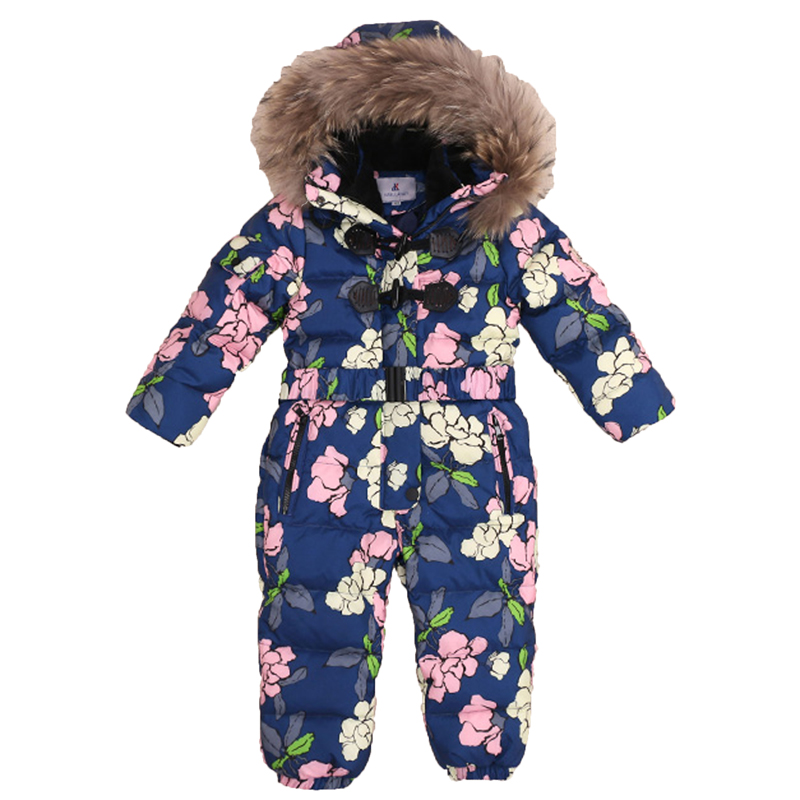 3-8Y Russia Winter Rompers Duck Down Jumpsuit Kids Clothing Baby Clothes Snow Wear Boy Girl Snowsuit Warm Coveralls Suit R05 kids rompers newborn baby girl duck down winter snowsuit baby cute hooded jumpsuit baby boy clothes ski suit red blue jacket