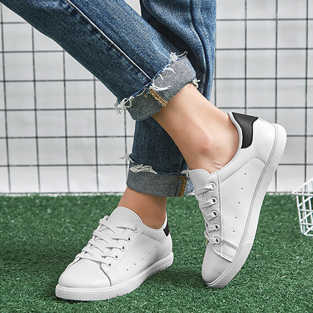 2018 Spring Sneakers for Women All White Casual Shoes Lace Pink Blue Sneakers All Match Chaussure Femme Zapatillas Mujer