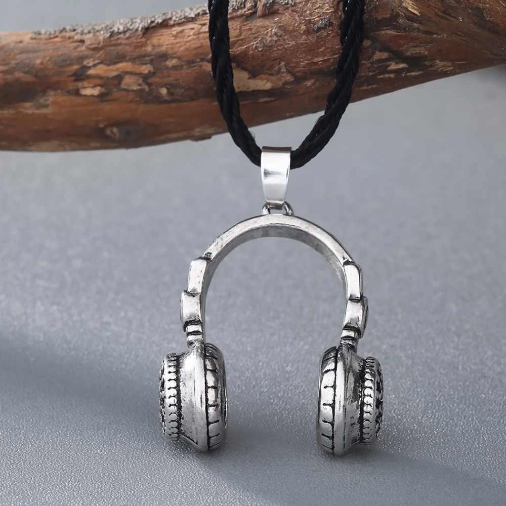 Modny Hip zestaw słuchawkowy projekt naszyjnik Vintage 3D słuchawki naszyjniki biżuteria dla kobiet mężczyzn miłość muzyka prezenty Collares