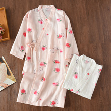 Summer Cotton Gauze Kimono Bathrobe Nightie Knitted Lingerie Robe Plus Size Long Dressing Gown Womens Robes Sleepwear