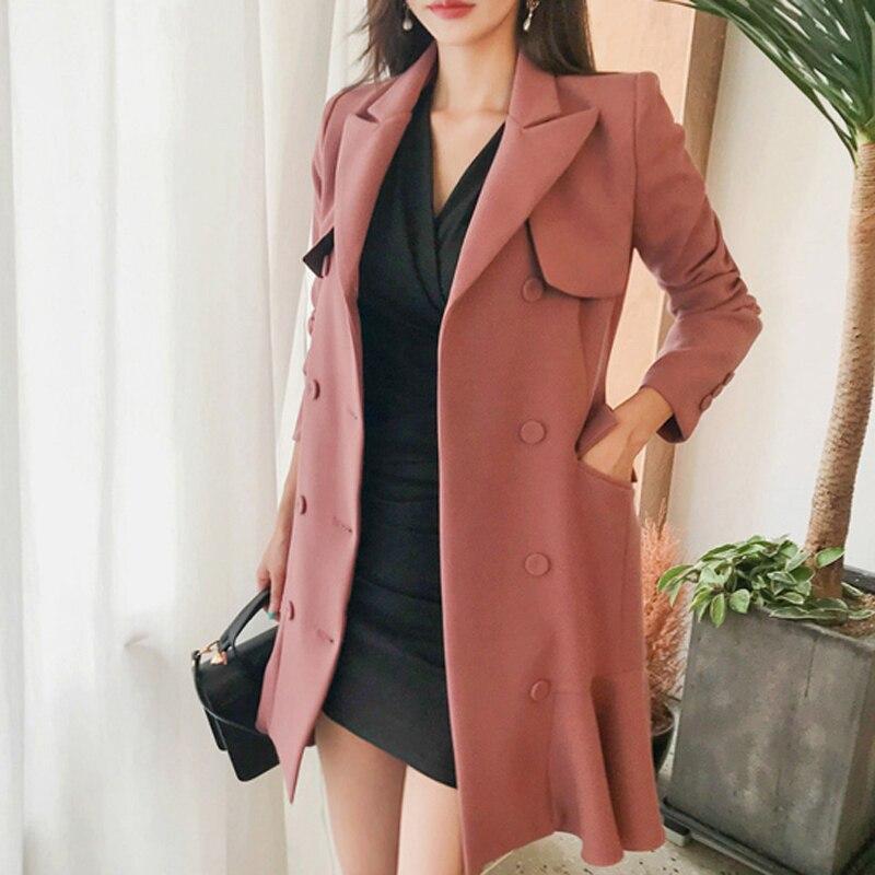 우아한 프릴 더블 브레스트 여성 드레스 캐주얼 새시 노치 블레 이저 드레스 2018 가을 겨울 슬림 양복 여성 vestidos-에서드레스부터 여성 의류 의  그룹 3