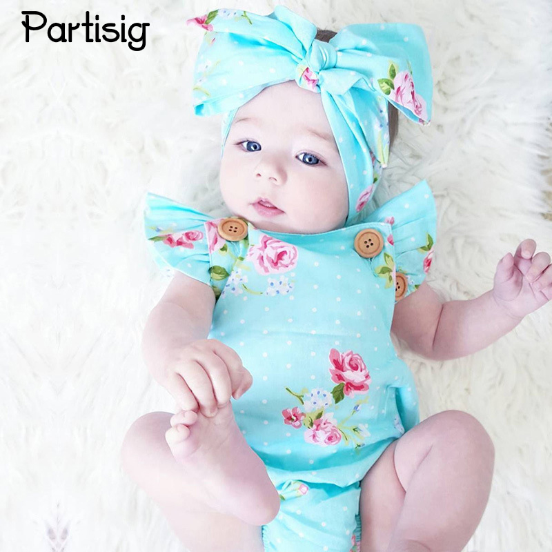 Ropa de bebé niña de verano azul rosa estampado de flores mameluco - Ropa de bebé