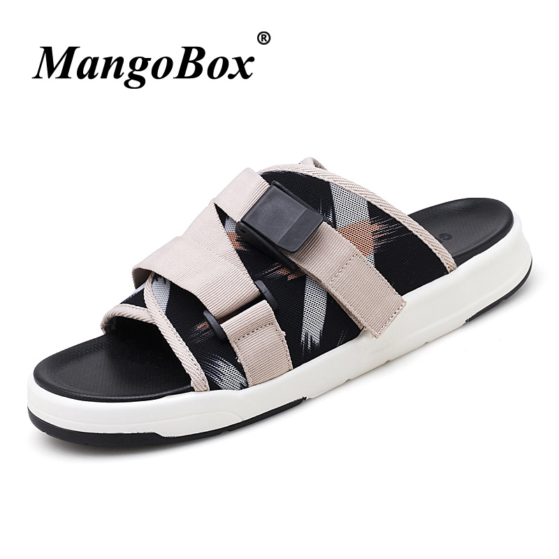 Mangobox Mens Summer Sandals Breathable Slippers For Men Rubber Bottom Beach Shoes Black Flats Walking Sandals Casual Shoes Men