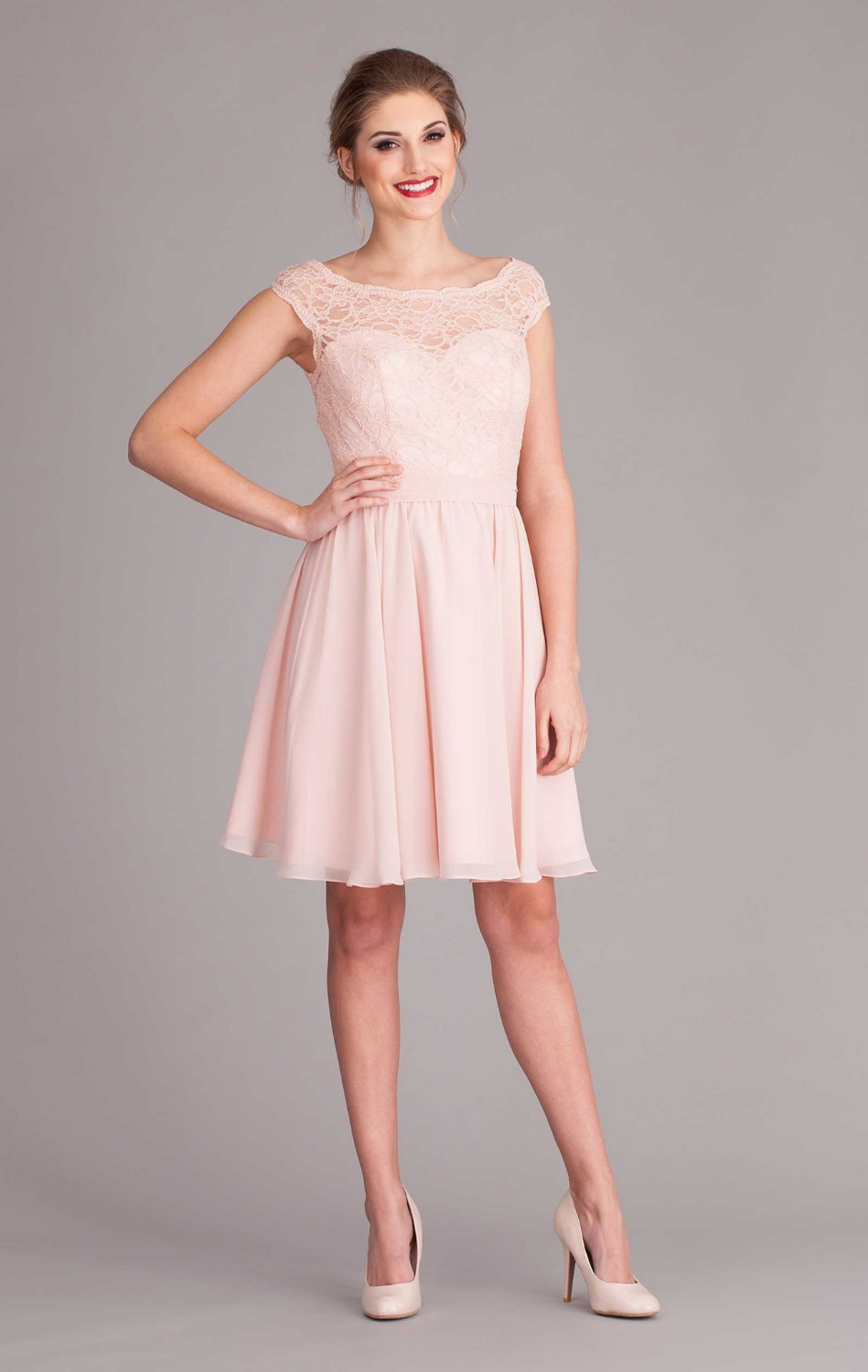 2017 Pink V Back Cap Sleeve Short Lace Bridesmaid Dress With Sashes Knee Length Wedding Guest Vestidos Madrinhas In Dresses From Weddings