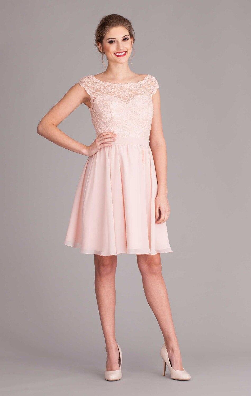 2019 Pink V Back Cap Sleeve Short Lace Bridesmaid Dress With Sashes Knee-length Dress Wedding Guest Vestidos Madrinhas