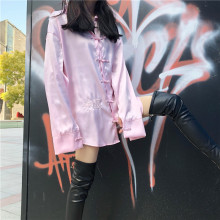 NiceMix Womens Clothing Chinese Style hipster Vintage Embroidery loose Women Blouses Turn-down Collar long sleeve New harajuku