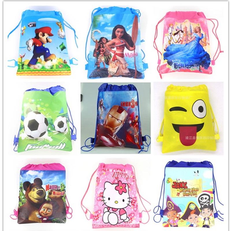 1pc Cartoon School Bag For Boy,girl Mario,football, Avengers Drawstring School Backpack Christmas Gift Bag Student Book Bag