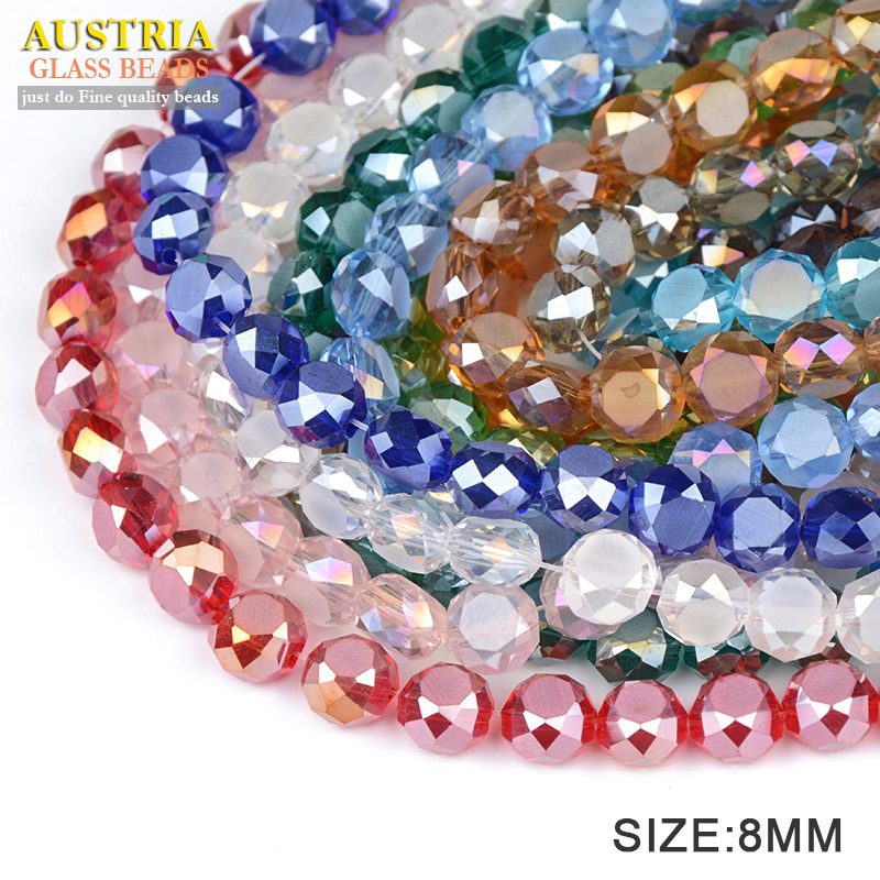 50 Piece Blue Bread Faceted Crystal Glass Spacer Beads Jewelry Making 4-8mm
