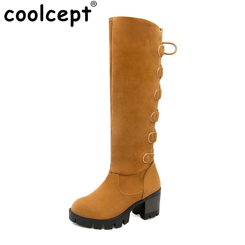 Coolcept Women Shoes Women Boots Knee High Boots Squared Heels With Fur Platform Lace Up Retro Casual Fashion Shoes Size 34-43 wetkiss big size 34 43 fashion lace up platform knee boots add fur retro thick high heels skid proof fall winter shoes woman
