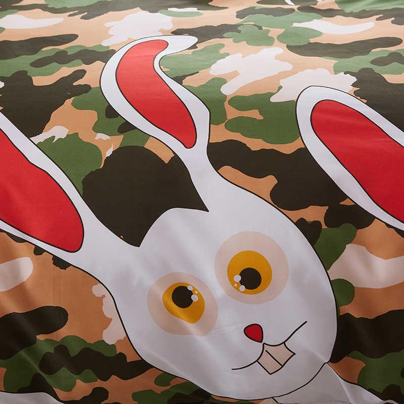 A: Камуфляжный Комплект постельного белья с рисунком кролика B: черно-белые комплекты постельного белья с рисунком супер размер простыня пододеяльник Набор наволочек
