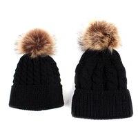 VBIGER 2pcs Mother Kids Child Baby Warm Winter Knit Skullies Beanies Cap Fur Pom Hat Crochet