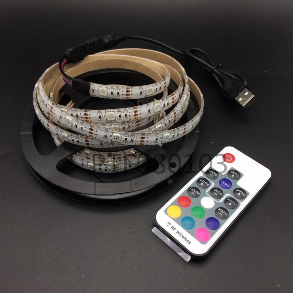 USB LED Strip light String RGB 5050 30 LEDs/M 5V 1m 2m 3m 4m 5m lamp tape HDTV TV Desktop LCD Screen PC Backlight/ Bias lighting