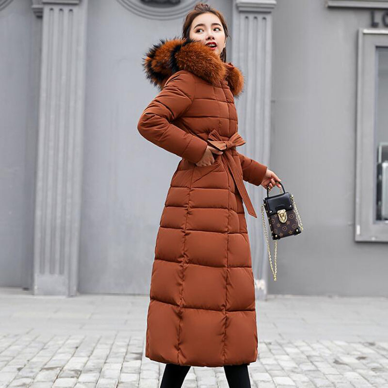 JKKUCOCO Newest Winter Jacket Women Fashion Bow Sashes Solid Fur Collar Parka Coat Long Duck Down