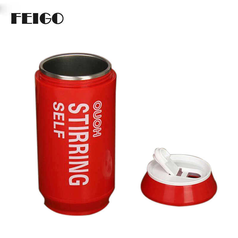 FEIGO 250ml Self Stirring Cola Cans Mug Electric Coffee Cup Smart Cans Mugs Double Insulated Automatic Electric Mixing Cups F802