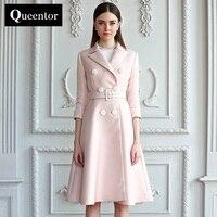 QUEENTOR originele 2017 merk designer bovenkleding herfst vintage casual solid trenchcoat voor vrouwen