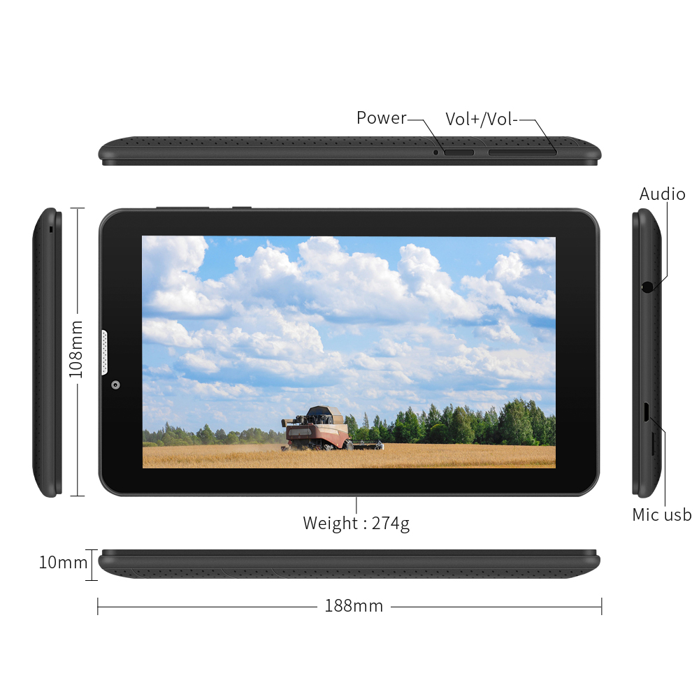 New arrival 7 inch E706 Tablet PC Android 5.1 Touch Screen 1024*600 Tablet Dual Camera Quad Core WiFi/Bluetooth (black)