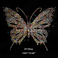 Colorful Butterfly Pattern Hotfix Rhinestones Heat Transfer Iron On Motif Rhinestones For Garment Embellishment Ss 7369