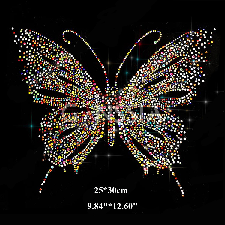 3pcs lot Colorful butterfly pattern hotfix rhinestones Heat transfer iron  on motif rhinestone for garment embellishment(ss-7369) 71cd9995cc29