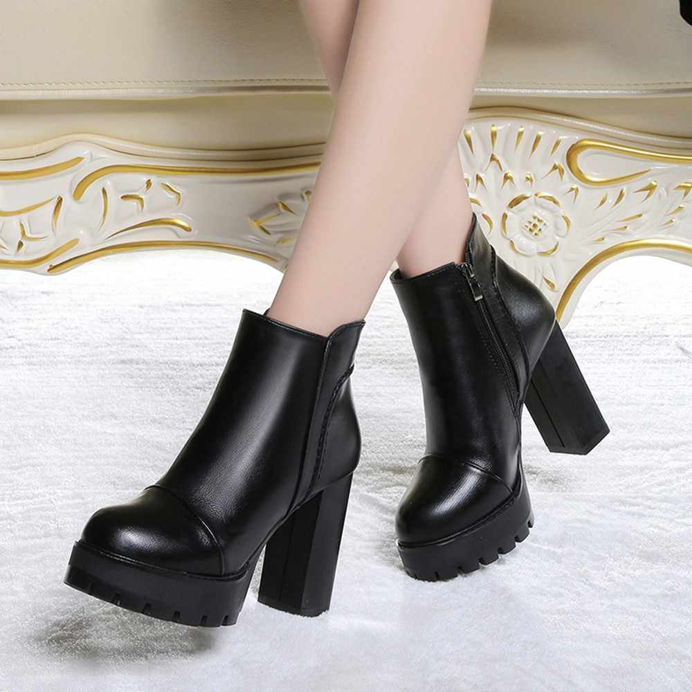 f1c0e5e1e6db ... Women s Side Zipper Shoes Leather Boots Square High Heel Ankle Boots    ...