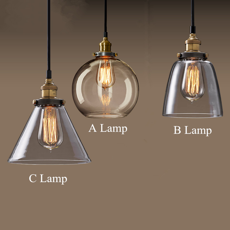 Luminaria Lamparas Simple American Restaurant Vintage Glass Pendant Lamp Retro Industrial Wind Loft Style Bar Cafe LED Light new arrival novelty led wall light fixture modern white acrylic wall sconces reading room bedroom beside lamp free shipping