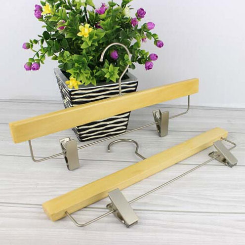 Free shipping A Grade Natural Wooden Hanger with Clips for Pants for Skirt 12 pieces