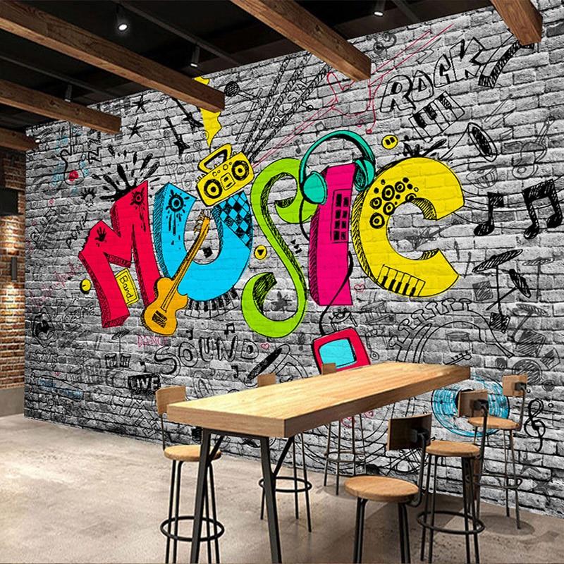 Custom Mural Wall Paper Creative Graffiti Art Music Brick Wall Painting KTV Bar Living Room Home Wall Decoration Wallpaper Plant Сумка