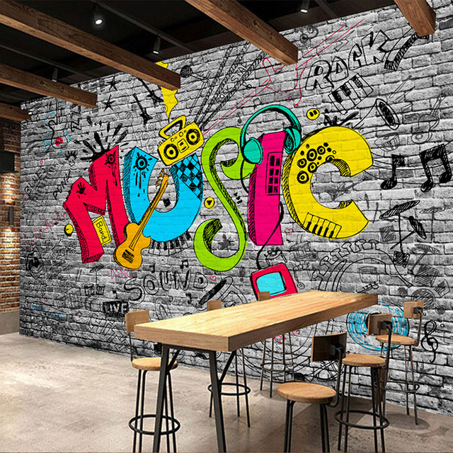 Custom mural wall paper creative graffiti art music brick for Creative mural art