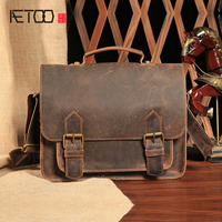AETOO The New Leather Men S Men S Casual Fashion Retro Style Horseshoe Handbag Shoulder Oblique