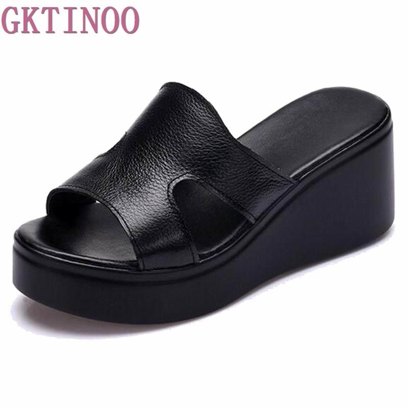 2019 Summer Women Sandals Comfortable Genuine Leather Fashion Women Casual Shoes SANDALS PLUS SIZE 33 40