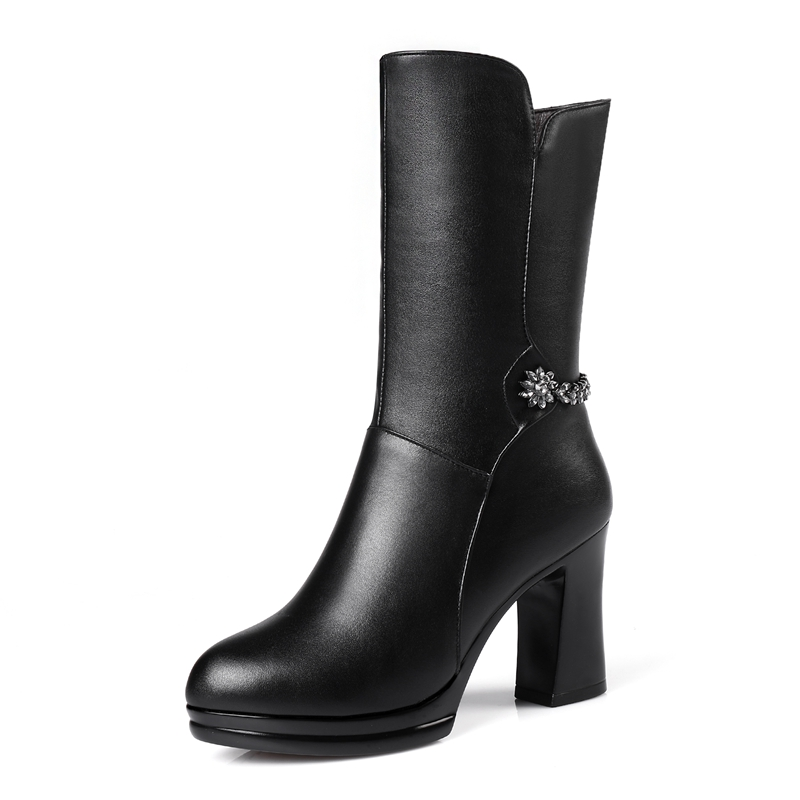 Dans Véritable En Femmes La Vangull Chaussures tube Femme Marque Cuir Chaud D'hiver De Plus Taille Bottes Talons Hauts Laine Neige 7ZHx7