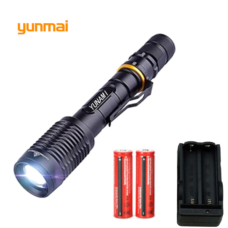Bright LED Flashlight 18650 zoom torch waterproof NEW XM-L2 6000LM 5 mode led Zoomable light by Rechargeable 2*18650 Battery цена