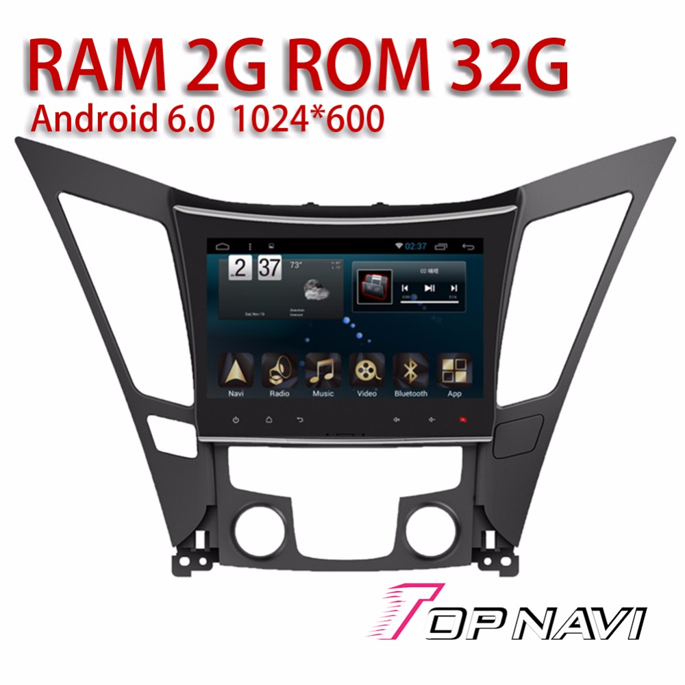 Vehicle Media for Hyundai Sonata 2011-2015 9 Topnavi Android 6.0 Car Navigation with Free Map Update Automotive Radio Tuner