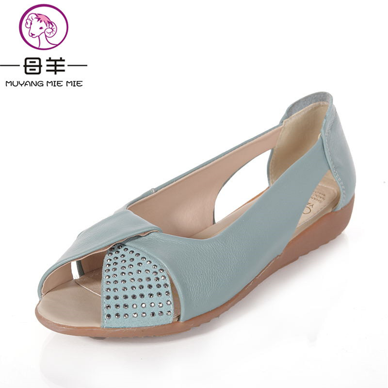 Plus size(35-43)Genuine leather Sandals Women  Summer open toe flat sandals crystal shoes Wedges  Casual platform Women sandal