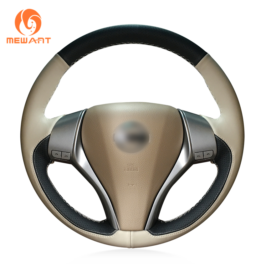 MEWANT Black Beige Leather Steering Wheel Cover for Nissan Teana 2013-2018 Altima 2013-2018 X-Trail 2014-2017 Qashqai 2014-2017