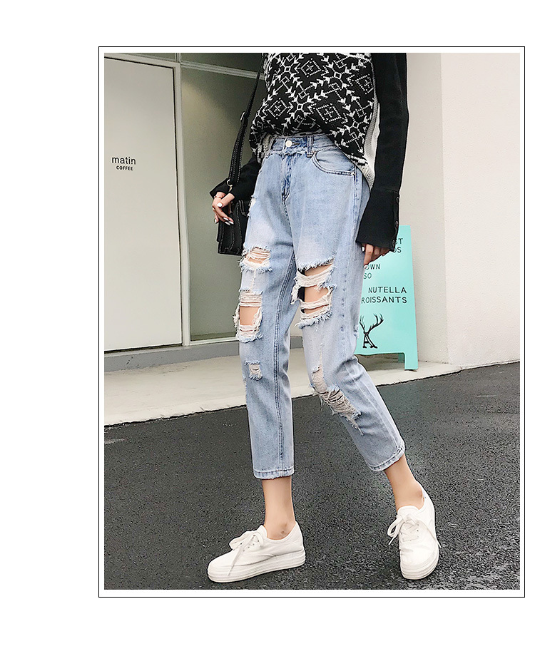 Blue Loose Vintage High Waist Ripped Jeans For Women 19