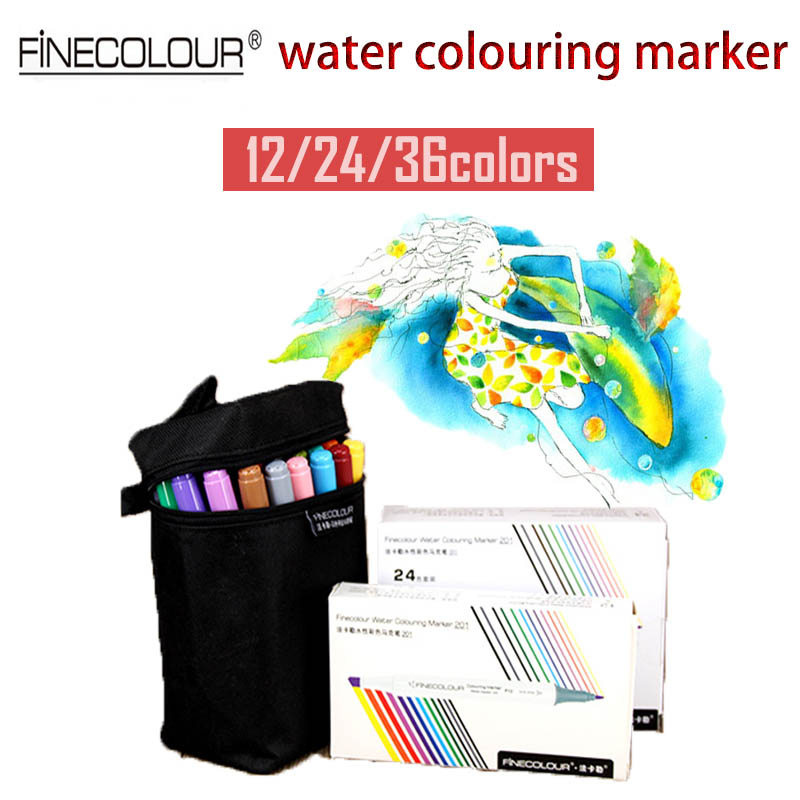 Finecolour Dual Aquarelle Marker 12/24/36 Set Graphic Drawing Pen Anime Highlighters Water Colored Sketch Markers Caneta Pens полотенца банные aquarelle полотенце aquarelle размер 70 140см серия таллин цвет ваниль