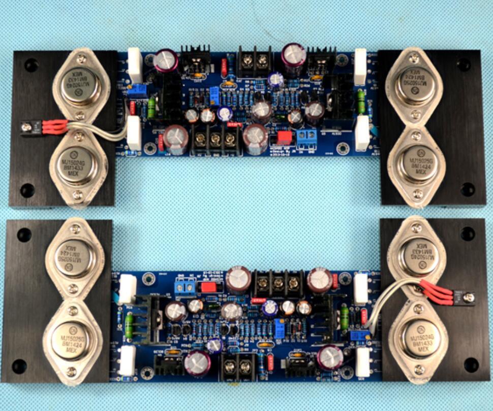 2 pz MJ01 KSA50 MJ15024 MJ15025 2.0 canali classe AB 180 W + 180 W Sigillo D'oro HiFi amplificatore di potenza assembeld bordo