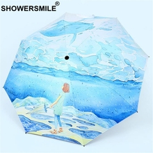 SHOWERSMILE Parasol Uv Protection Sliver Coating Painting Umbrella Art Illustrations Blue Folding Girls Japanese Rain