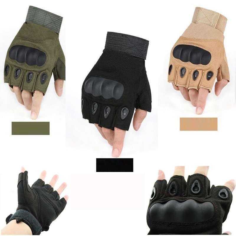 Tactical Hard Knuckle Half Finger Gloves Men Womens Outdoor Sports Camping Hiking Trekking Mountaineering Climbing Armor Mitten