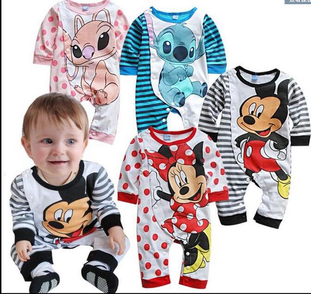 Macacão de bebê meninos meninas bonito dos desenhos animados do rato recém-nascidos romper para a roupa do bebê do outono tarja polka dot de manga longa da menina do menino macacão