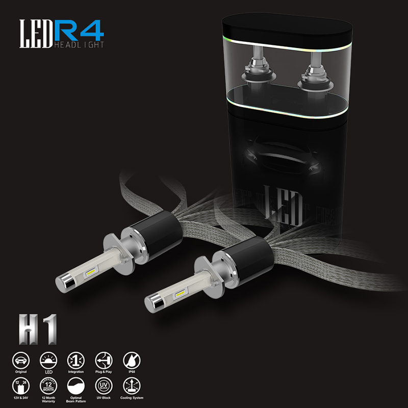ФОТО 9600LM 40W  R4 Car Led Headlight Kit  H1 Led Headlamp Bulbs Replace Bi Xenon Halogen Light Bulbs Car-styling