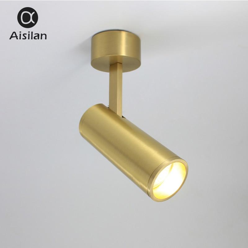 Aisilan Solide Cuivre Surface Monté Spots Nordique conception D'or LED Réglable Angle Plafond Spots AC 90-260 v