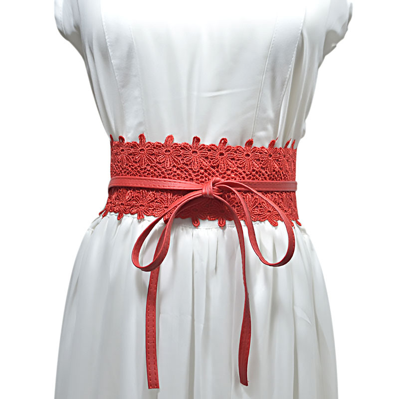 2020 Elegant PU Leather Lace Corset Belts For Women Red Yellow Black Wide Waist Belt Ladies Dress Starps Waistband 15 Colors