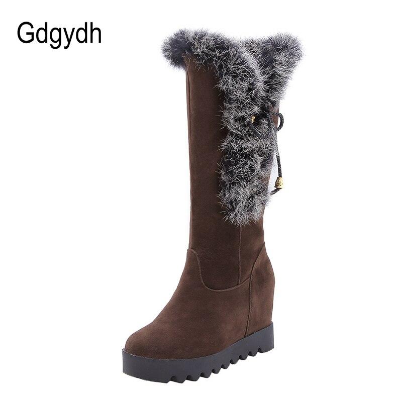 Gdgydh piel Real Mujer Zapatos de tacón de plataforma mujer botas de Nieve Ruso invierno mujer negro cuñas botas 2018 nuevo invierno grande tamaño 43-in Botas de nieve from zapatos    3