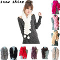 snowshine#3001  Women Winter  Rabbit Fur Scarf Lady Casual Fur Scarves Fur Ball Velvet Scarf  free shipping wholesale