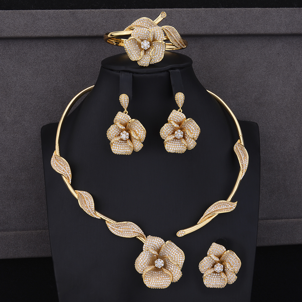 Popular Flower Shape Bridal Jewelry Sets Cubic Zirconia Collar Necklace Dangle Earrings Bracelet Ring Jewelry Sets Wedding Wear