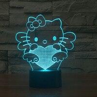 사랑스러운 만화 헬로 키티 3D 테이블 램프 7 색 그라데이션 LED 나이트 라이트 터치 센서 장식 창조적 인 침대 옆 램프