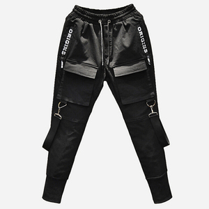 Image 3 - Gli uomini di personalità punk hiphop harem pantaloni cantante di nightclub costume di scena pantaloni da uomo hip hop nastri cargo jogging streetwear